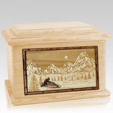 Snowmobile Maple Memory Chest Cremation Urn