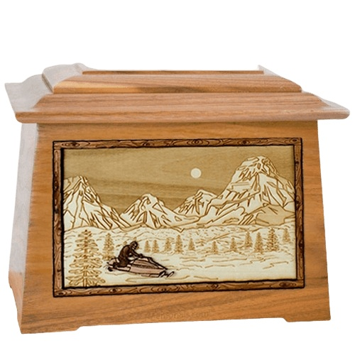 Snowmobile Oak Aristocrat Cremation Urn