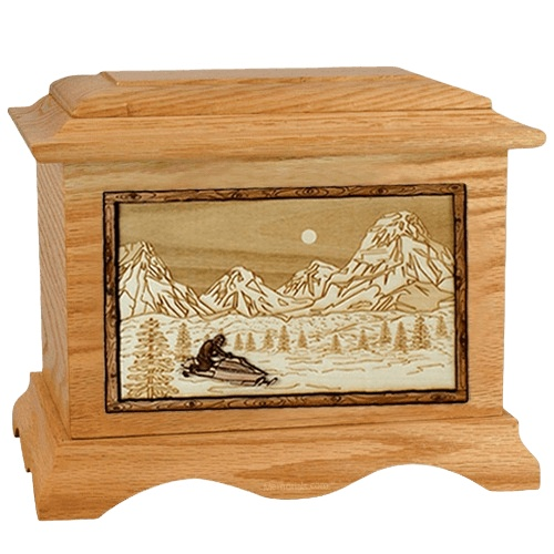 Snowmobile Oak Cremation Urn