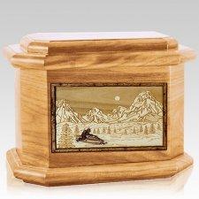 Snowmobile Oak Octagon Cremation Urn
