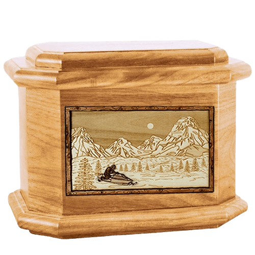 Snowmobile Oak Octagon Cremation Urn