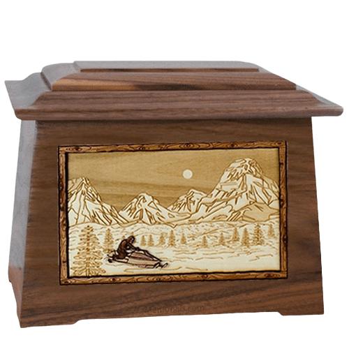 Snowmobile Walnut Aristocrat Cremation Urn