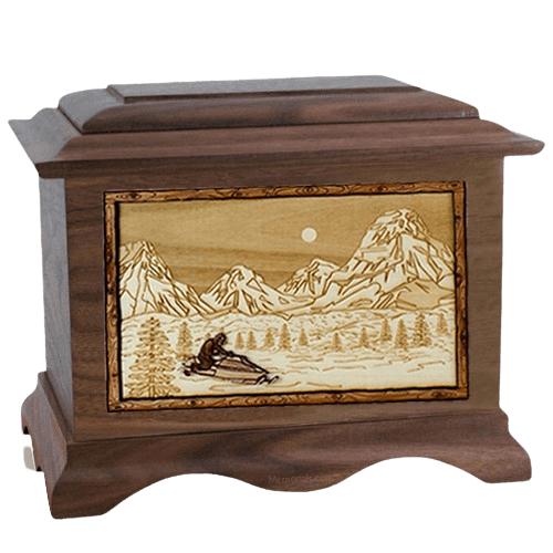 Snowmobile Walnut Cremation Urn