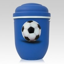 Soccer Biodegradable Urn in Blue
