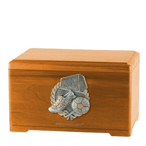 Soccer Fan Oak Cremation Urn