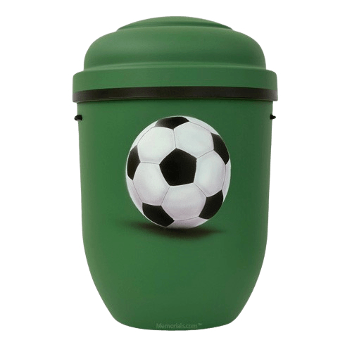 Soccer Biodegradable Urn in Green