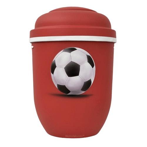 Soccer Biodegradable Urn in Red
