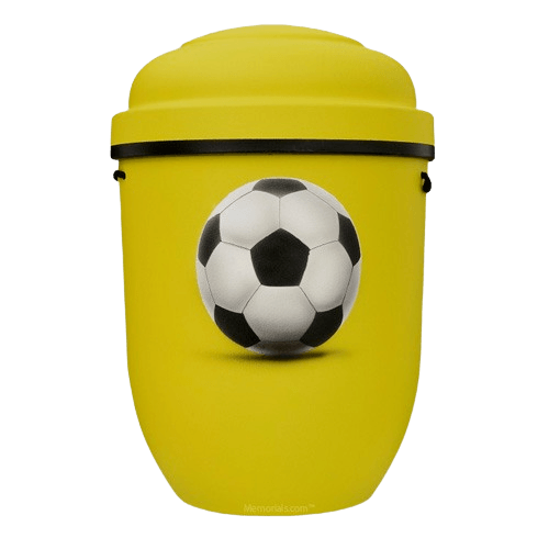 Soccer Biodegradable Urn in Yellow