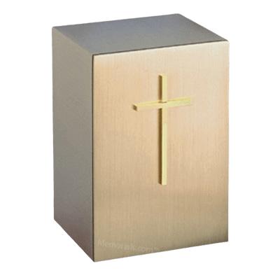 Solitude Protestant Cross Bronze Cremation Urn