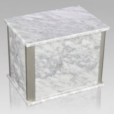 Solitude Silver Bianco Carrara Marble Companion Urn