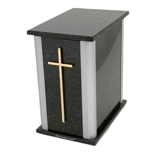 Solitude Silver Cambrian Black Granite Urn
