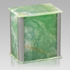 Solitude Silver Green Onyx Cremation Urns