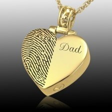 Split Heart 14k Gold Cremation Print Keepsake
