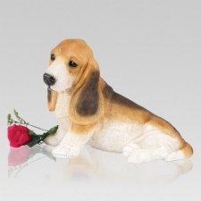 Spotted Basset Hound Cremation Urn