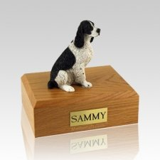 Springer Spaniel Black & White Sitting Large Dog Urn