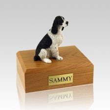 Springer Spaniel Black & White Sitting Medium Dog Urn