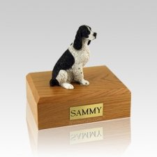 Springer Spaniel Black & White Sitting Small Dog Urn