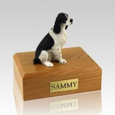 Springer Spaniel Black & White Sitting Dog Urns