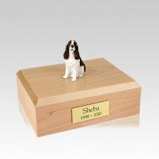 Springer Spaniel Liver & White Sitting Medium Dog Urn