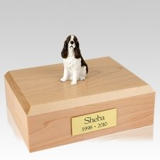Springer Spaniel Liver & White Sitting Dog Urns