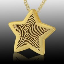Star 14k Gold Cremation Print Keepsake