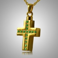 Emerald Crystal Cross Keepsake Pendant II
