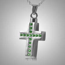 Emerald Crystal Cross Keepsake Pendant