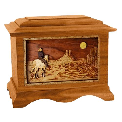 Horse Moon Mahogany Cremation Urn