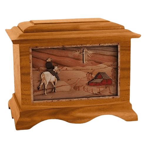 Horse & Cross Walnut Cremation Urn