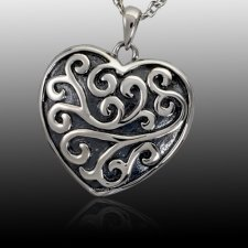 Swirling Heart Cremation Pendant