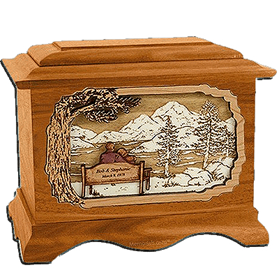 Together Always Mahogany Cremation Urn for Two