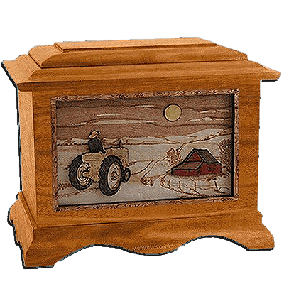 Tractor & Moon Mahogany Cremation Urn for Two