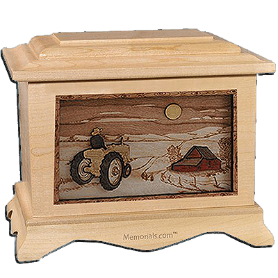Tractor & Moon Maple Cremation Urn for Two