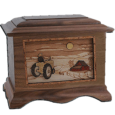 Tractor & Moon Walnut Cremation Urn For Two