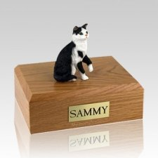 Tabby Black White Sitting Large Cat Cremation Urn