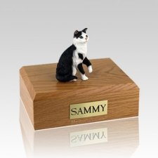 Tabby Black White Sitting Medium Cat Cremation Urn