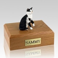 Tabby Black White Sitting X Large Cat Cremation Urn