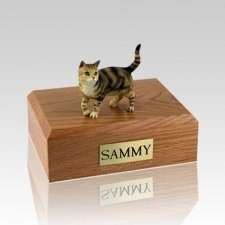 Tabby Brown Standing Medium Cat Cremation Urn