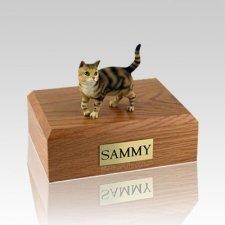 Tabby Brown Standing Medium Cat Cremation Urn