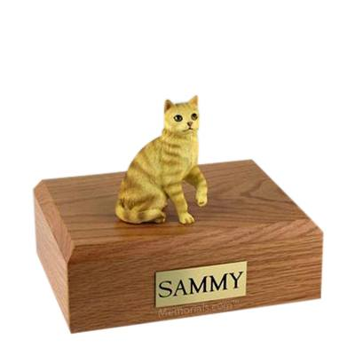 Tabby Red Sitting Large Cat Cremation Urn