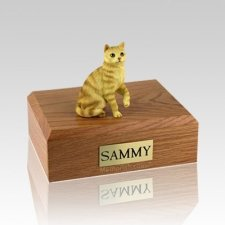 Tabby Red Sitting Medium Cat Cremation Urn