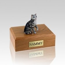 Tabby Silver Sitting Small Cat Cremation Urn