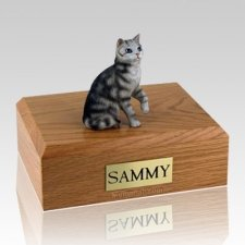 Tabby Silver Sitting X Large Cat Cremation Urn
