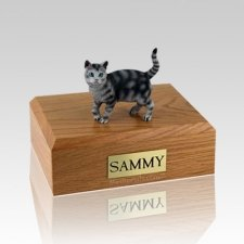 Tabby Silver Standing Medium Cat Cremation Urn