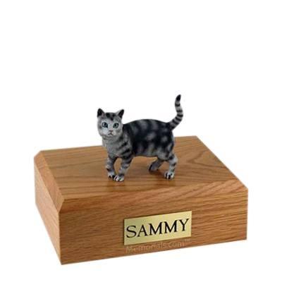 Tabby Silver Standing Medium Cat Cremation Urn