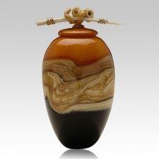 Tangerine Strata Ginger Art Cremation Urn