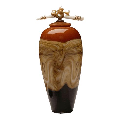 Tangerine Strata Art Cremation Urn