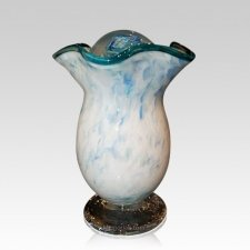Teal Cloud Glass Cremation Urns