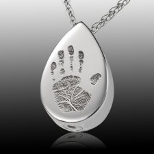 Tear Drop 14k White Gold Cremation Print Keepsake