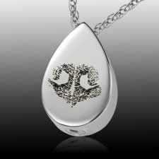 Teardrop Nose 14k White Gold Print Cremation Keepsakes